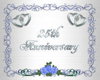 25th Wedding Anniversary Border Invitation Royalty Free Stock Images