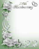 25to Frontera de la invitación del aniversario stock de ilustración