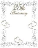 25to Invitación del aniversario de boda Imagen de archivo