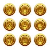 26个按钮金图标设置了万维网 库存照片