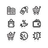 26个黑色图标设置了万维网 免版税库存照片