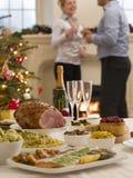 26. Dezember-Buffet-Mittagessen-Weihnachtsbaum Stockbild