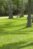 椅子空的公园 免版税库存图片