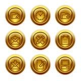 27个按钮金图标设置了万维网 图库摄影