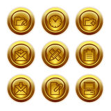 27 икон золота кнопки установили сеть Стоковая Фотография