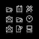 27 икон установили сеть белым Стоковые Изображения