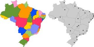 27 положений иллюстрации Бразилии splited картой Стоковое Изображение
