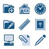 27 błękit ikony set Obrazy Stock