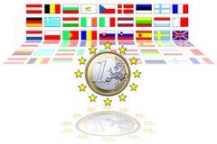 27 bandierine di Unione Europea Fotografia Stock