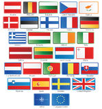 27 EU flag buttons plus NATO and EU Stock Photo