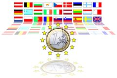 27 European Union flags Stock Photo