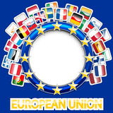 27 flags of european union. Vector illustration of 27 european union flags Stock Photo