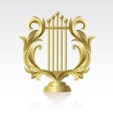 27 Lyre. Golden Golden Lyre on a white background on a white background Royalty Free Stock Image