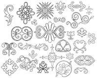 27 stylized motiv som skisseras vektor illustrationer