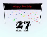 27th birthday party. Illustration for 27th birthday party with cartoon numbers Royalty Free Stock Images