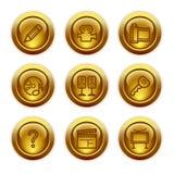 28个按钮金图标设置了万维网 免版税库存照片