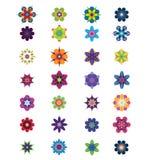 28朵抽象五颜六色的设计不同的花 免版税库存照片