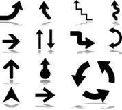 28 установленных икон стрелок Стоковое Изображение RF