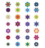 28 Different Colorful Abstract Flowers for Design Royalty Free Stock Photo