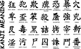 28 Japanese hieroglyphs. Asian japanise black and white hieroglyph. Kanji -  a Japanese writing system using characters mainly derived from Chinese ideogramsIt Royalty Free Stock Images