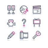 28 koloru konturowa ikon sieć Zdjęcia Royalty Free