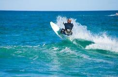 28 Kwiecień corralejo kitesurfer Spain Zdjęcie Stock
