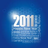 28 languages said Happy New Year in 2011. Design and typography background Royalty Free Stock Image