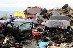 28 vehicle pile-up Stock Photography