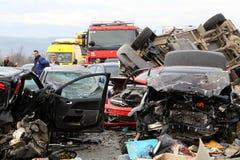 28 vehicle pile-up stock photography
