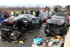 28 vehicle pile-up Stock Images