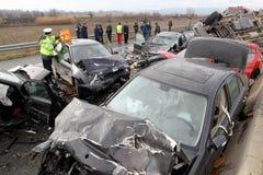 28 vehicle pile-up Royalty Free Stock Image