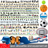 280 Sport Silhouettes and Equipment Royalty Free Stock Photography