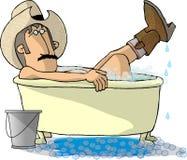 浴牛仔 向量例证