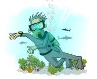潜水员水肺 向量例证