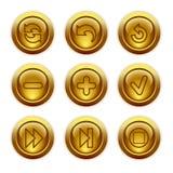 29个按钮金图标设置了万维网 免版税库存照片