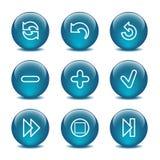 29个球玻璃图标设置了万维网 免版税库存图片