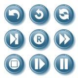 29蓝色按钮集 免版税库存图片