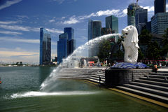 29.08.2010 - Merlion at Marina Bay in Singapore. Royalty Free Stock Images