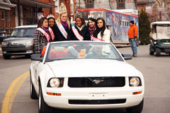 29th Annual Weston Santa Claus Parade. Participants in the parade riding in a mustang car.  This is the 29th parade held.  November 24, 2008.  Toronto, Ontario Royalty Free Stock Photography