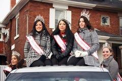 29th Annual Weston Santa Claus Parade. From left to right:  MCGP Canadian Scholarship Ambassador (Kristine Di Carlo), Miss Canada Petite 2008 (Jennifer De Sousa Stock Photos