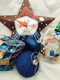2blue Glitter Baubles Brown Star Snowman Print Christmas Decor Stock Photo