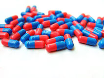 2colored capsules stock photo
