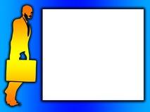 2D Бизнесмен с пустым знаком иллюстрация вектора