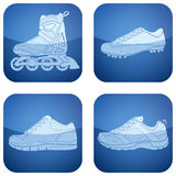 2d ботинки кобальта установленные иконами резвятся квадрат иллюстрация вектора