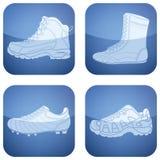 2d квадрат спортов ботинок кобальта установленный иконами иллюстрация вектора