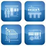 2d установленные иконы гостиницы кобальта приданными квадратную форму Стоковые Изображения RF