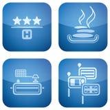 2d установленные иконы гостиницы кобальта приданными квадратную форму Стоковые Фото