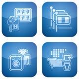 2d установленные иконы гостиницы кобальта приданными квадратную форму Стоковое фото RF
