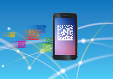 2D barcode. Scanning 2D barcode using a smart phone to get information from the web Royalty Free Stock Images