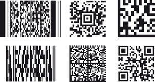 2D Barcodes. A set of the most common bidimensional (2D) barcodes, including PDF 417, Micro PDF, Aztec code and QR code Royalty Free Stock Photo